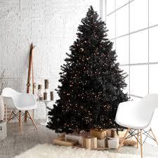 Vickerman Pre Lit Flocked Christmas Tree by Classic Black Full Pre Lit Christmas Tree 7 5 Ft Clear