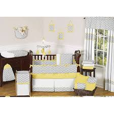 Sweet Jojo Designs Grey and Yellow Zig Zag 9 piece Crib Bedding