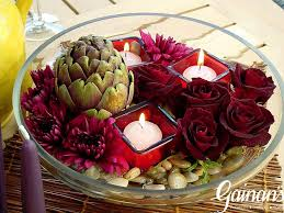 Flowers And Candles A Very Textural Design Featuring An Artichoke Colored Glass Votives