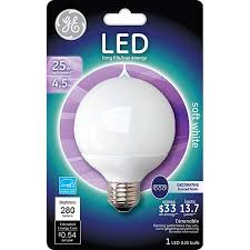 ge 4 5 watt 25 watt equivalent med base g25 soft white globe led