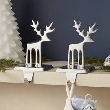 Shop Silver Reindeer Stocking Hook. Streamlined Reindeer Glistens ... Decorating Rustic Stocking Holders With Pottery Barn Holder Christmas Stockings Forids Velvet Mantel Hangers Christmas Stocking Holder By Ohhappydayco Heavy Decor Metal For Mantle North Pole Shing Season Shop Silver Reindeer Hook Streamlined Reindeer Glistens Hanger