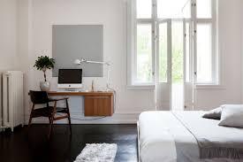 100 Swedish Bedroom Design Workspace With Floating Wood Desk