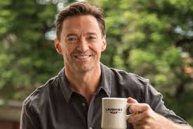 Hugh Jackman Drinking Laughing Man Coffee Official