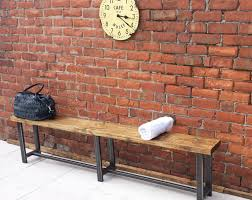 Large Hallway Bench Ideal For Waiting Rooms Wood Metal Rustic Industrial Style