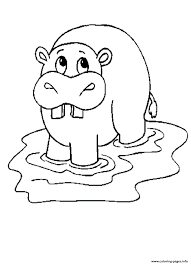 Free Hippo African Animal S3810 Coloring Pages