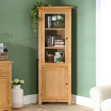Hereford Rustic Oak Corner Display Cabinet