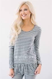 cute gray striped top with ruffle hem modest bridesmaids dresses