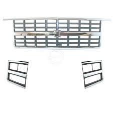 100 89 Chevy Truck Chrome Grille Headlight Lamp Bezel Kit 3 Piece For 91