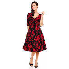 Katherine Long Sleeve 50s Style Swing Dress In Black Red Floral