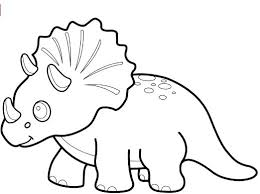 Funny Dinosaur Triceratops Coloring Page