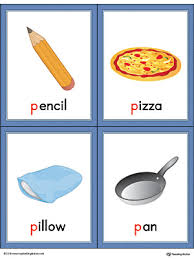 Letter P Words and Printable Cards Pencil Pizza Pillow