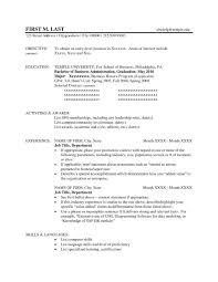 Resume Template Temple University New Business Administration