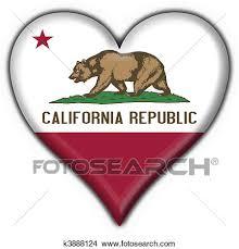 California USA State Button Flag Heart Shape