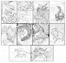10 Digital Adult Coloring Pages Fantasy Creature Animal For