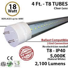 4 foot led light bulb 18 watt t8 5000k clear lens ballast ok
