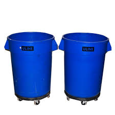 Pair Of Uline Industrial Garbage Bins With Removable Roll Away Carts