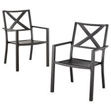 afton 2 piece metal stacking patio chair set black threshold
