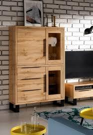 glasvitrine halle 120cm standvitrine wohnzimmer mit schublade wotan eiche