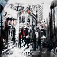 Abstract City Cityscape Landscape Newspaper News Bulidings Painting