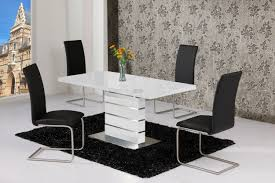 100 White Gloss Extending Dining Table And Chairs Rosa High 120160 Furniture