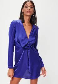 purple satin wrap dress missguided