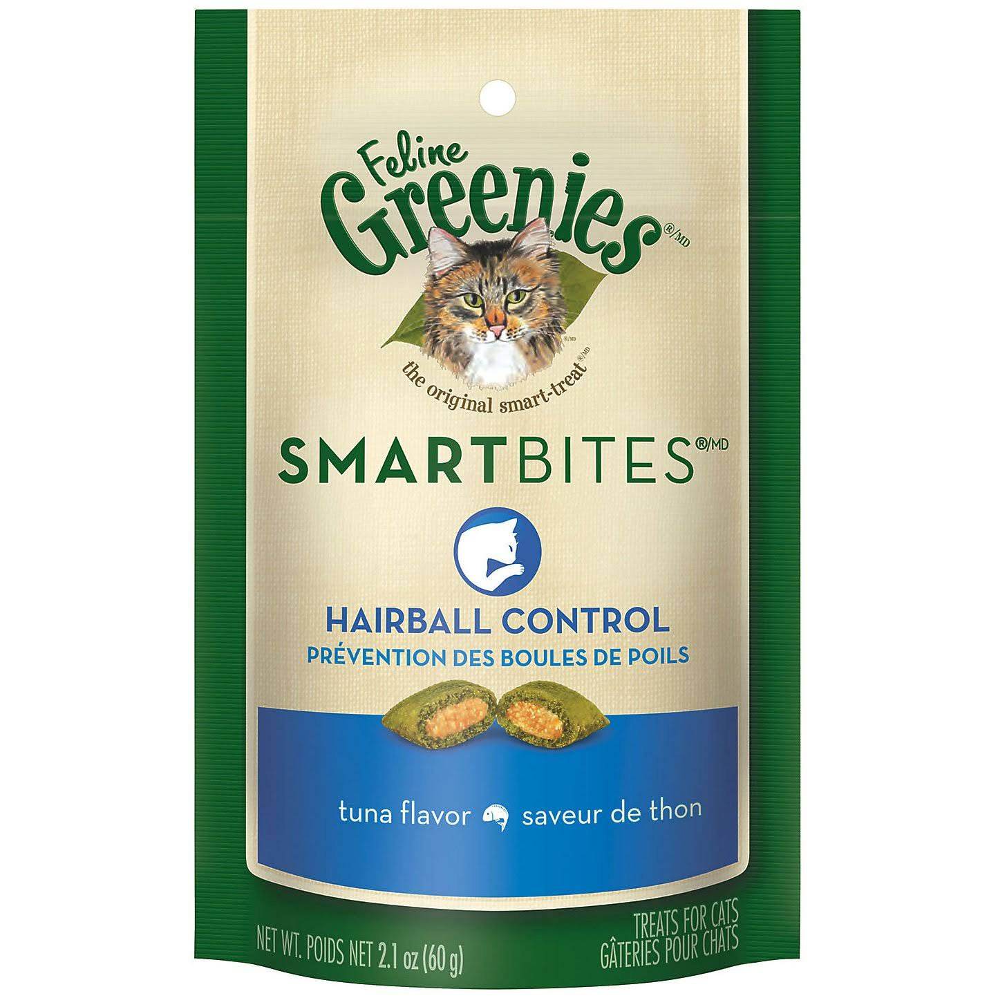 Greenies Feline Smartbites Hairball Control Cat Treats - Tuna, 2.1oz