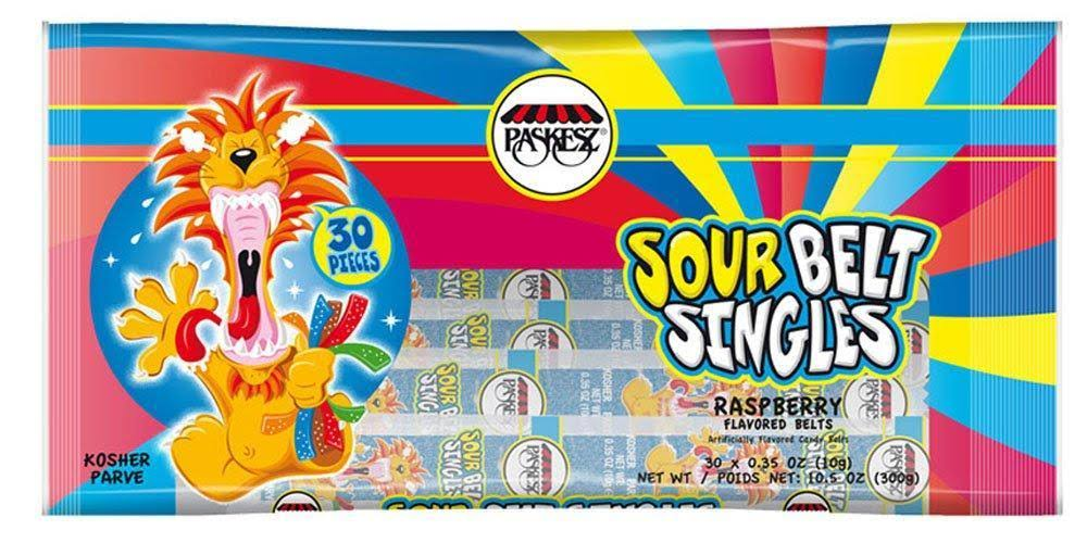 Paskesz Raspberry Single Sour Belts Pack