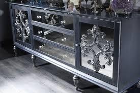 casa padrino luxus barock wohnzimmer set grau blau silber kommode und 3 spiegel barock wohnzimmermöbel