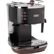 DeLonghi Icona Vintage Pump Espresso Cappuccino Machine Matt Black And Brown ECOV310BK