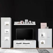 wohnzimmerwand in weiß hochglanz modern 4 teilig
