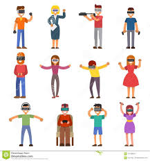 Virtual Reality VR Glass Headset People Playing Enjoy 3d Goggles ...