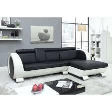 canape d angle noir et blanc canapé d angle droit fixe en croûte de cuir 4 places