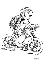 Franklin With Bicycle Coloring Page