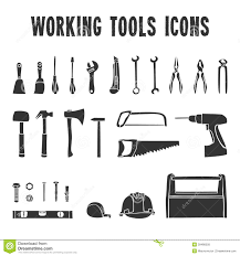 Working Tool Box Icons Set Royalty Free Stock Photos