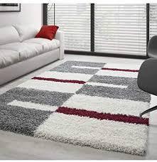 hochflor langflor wohnzimmer shaggy teppich florhöhe 3cm grau weiss rot 120x170 cm
