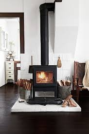 Wood Burning Stove With White Brick