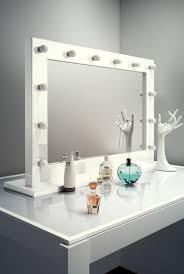 Vanity Table With Lights Around Mirror by Diamond X Gloss White Hollywood Makeup Mirror With Dimmable Led