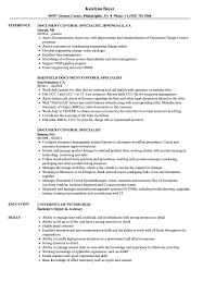 Download Document Control Specialist Resume Sample As Image File