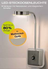 trango led steckdosenleuchte 2605 led steckerleuchte wandleuchte lesele küchenle nachtlicht in nickel matt inkl 5 watt led modul warmweiß