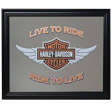 Harley DavidsonR Winged Bar Shield LTR RTL Mirror