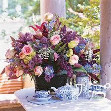 Basket With Fresh Flower Arrangement