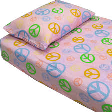 Country Club Products Pink Peace Signs Hippie Bedding Twin