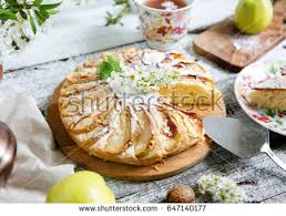 Fresh Apple Pie A Table Served In Rustic Style Spring Flowers