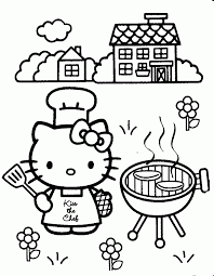 Printable Coloring Pages Of Hello Kitty Cooking Free