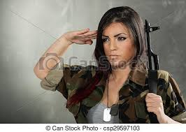 Woman Soldier Saluting Beautiful With A Rifle