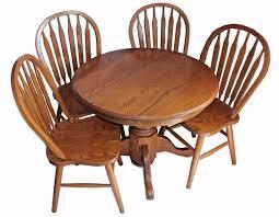 100 Oak Pedestal Table And Chairs 5pc Dinette Set 42quot Round Drop Leaf Kitchen