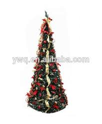 6 Pop Up Christmas Tree Pre Lit Decorated Red Gold Artificial