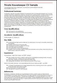 Private Housekeeper CV Sample