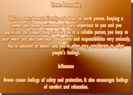 Color brown personality meaning and affects