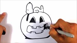 Snoopy Pumpkin Carving Kit by How To Draw Snoopy Sleeping With His Pumpkin Halloween Drawings